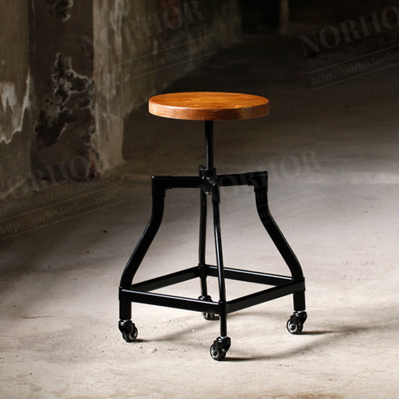 American country antique wood bar stool bar stool coffee shop to do the old retro rust imitation wrought iron bar chair computer(China (Mainland))