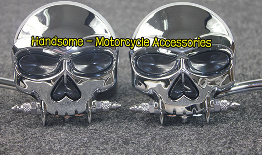 Chrome Custom Motorcycle  Skull face  Mirrors For Harley Davidson Softail Heritage Classic<br><br>Aliexpress