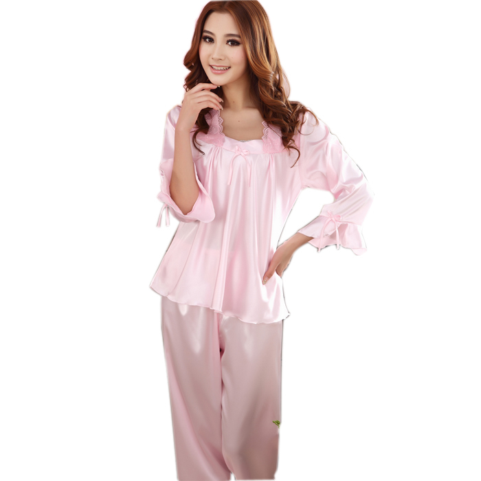 Fashion Brace Satin Silk Pajamas Home Apparel New Design Women Solid Pink Square Collar Pajamas For Spring,Autumn,Summer