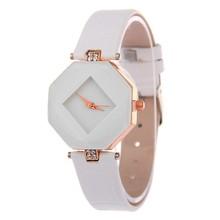Women Watches Gem Cut Geometry Crystal Leather Quartz Wristwatch Fashion Dress Watch Ladies Gifts Clock Relogio Feminino 5 color(China)