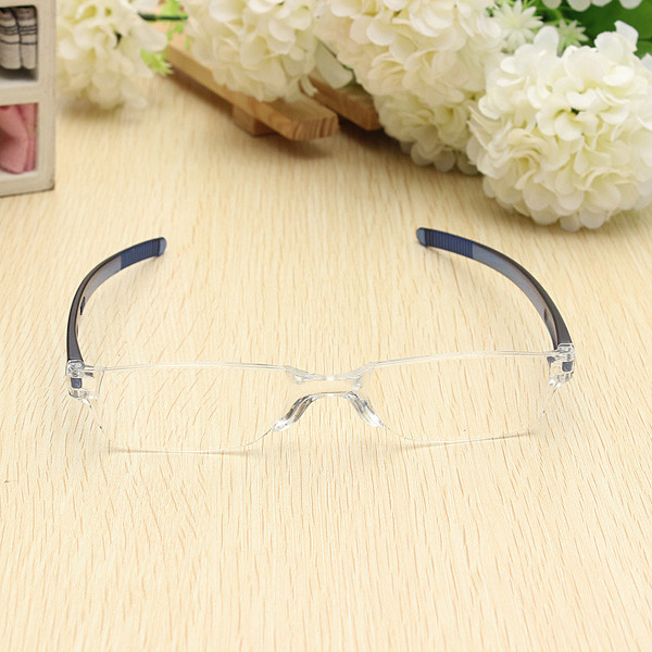 Lightweight Blue Rimless Resin Magnifying Reading Glasses 1 1 5 2 2 5 3 Presbyopic Glasses