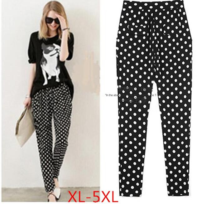 2016 New Women Casual Plus Size Black And White dots elastic Waist Fashion Harem Pants leggings Sweatpants trousers(China (Mainland))