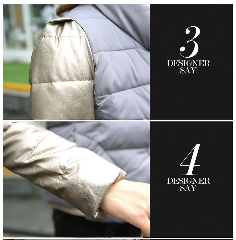 New Winter Fashion Women Down jacket  Stand collar Thickening Super warm Short Coat Patchwork color Slim Big yards Coat SJ1131
