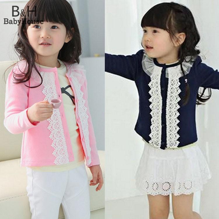 Одежда для девочка вязаный свитер весна осень одежда для младенцев свитера девочки-младенцы кружево кардиган 57
