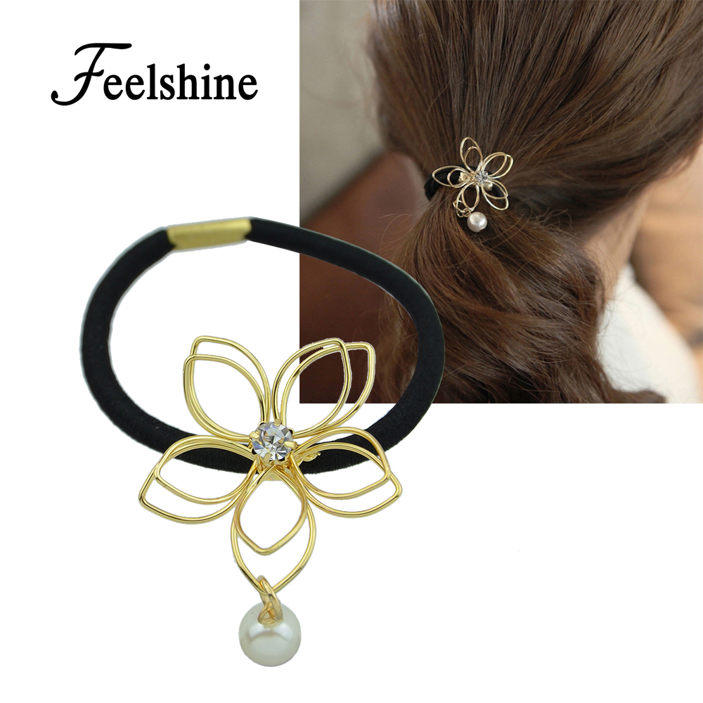 New Arrival Fashion Plaits Hair Accessories Black Elastic Rope Gold Silver Color Flower Created Pearl Headwear Accessories Women(China (Mainland))