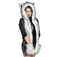 Warm Winter 015 Faux Animal Fur Hat Fluffy Scarf Shawl Glove Plush Cap Gloves Hats Xmas a2 Q1(China (Mainland))