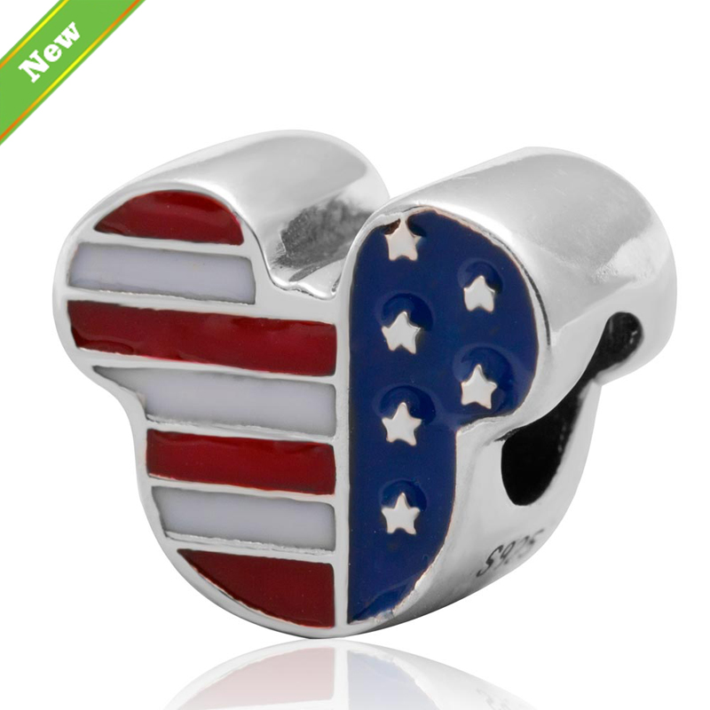 Enamel USA Flag Mickey charms Authenitc 925 sterling silver beads Fit for Pandora Bracelets jewelry free shipping<br><br>Aliexpress