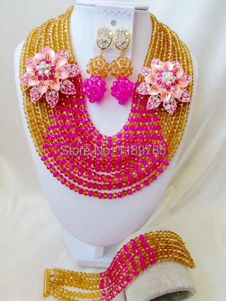 Free Shipping  African Wedding Jewelry Set Costume Nigerian  Crystal Beads Jewelry Set Wholesale A-9197<br><br>Aliexpress