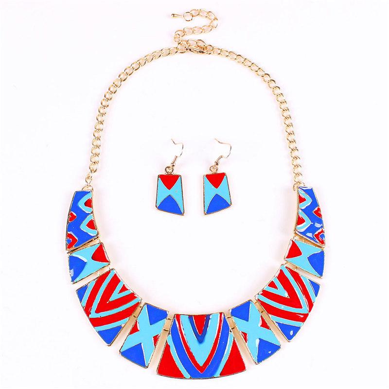 2015 Enamel Jewelry Cheap Fashion Sets Necklace Earring Set Gold Blue Moon Women Geometic