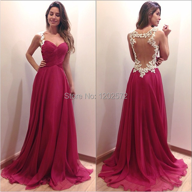 Burgundy Prom Dresses Sweetheart Neck Appliqued Backless vestido formatura Chiffon for Evening Party Long Elegant(China (Mainland))