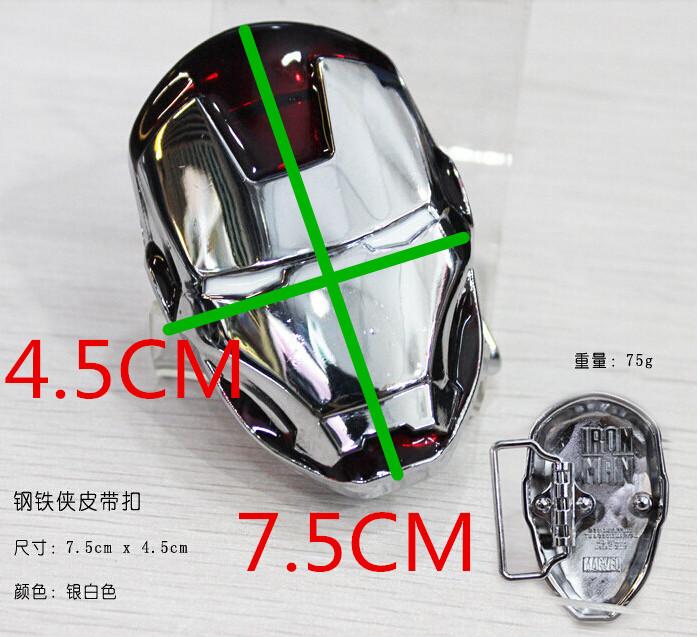 Super Hero Marvel Comics Avengers Iron Man Head Golden Mask Metal Belt uckle color Bright silver