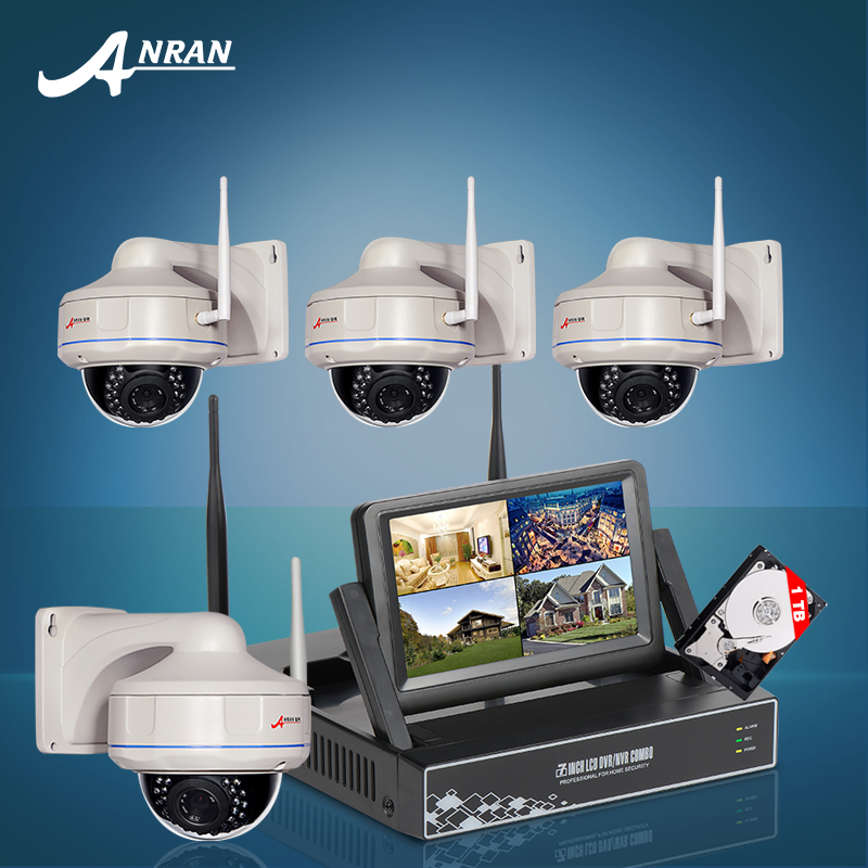 2016 New Plug and Play 7 Inch Screen Video Surveillance Kit 1TB HDD 4CH Wireless NVR 720P HD Security IP Camera Wifi CCTV System(China (Mainland))