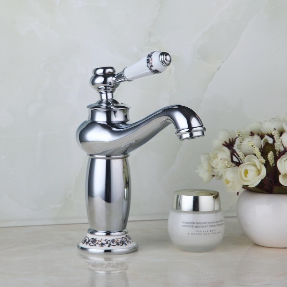 Buy Ouboni Waterfall Single Ceramic Handles Basin Faucet Bathroom Chrome Deck