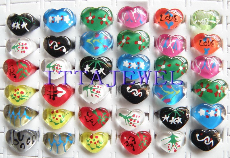 wholesale 200pcs heart shaped resin rings ,children rings ,children lucite resin,fashion kids rings,free shipping<br><br>Aliexpress