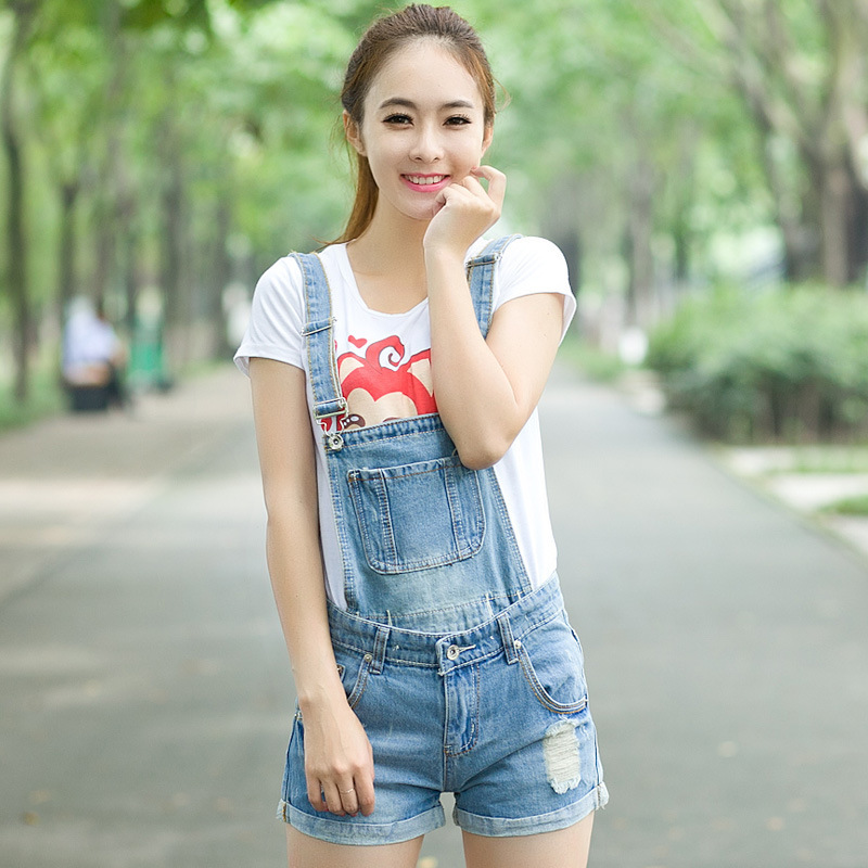 Plus Size Summer Style 2016 Korean Fashion Ripped Hole Vintage Playsuit Shorts Jumpsuit Denim