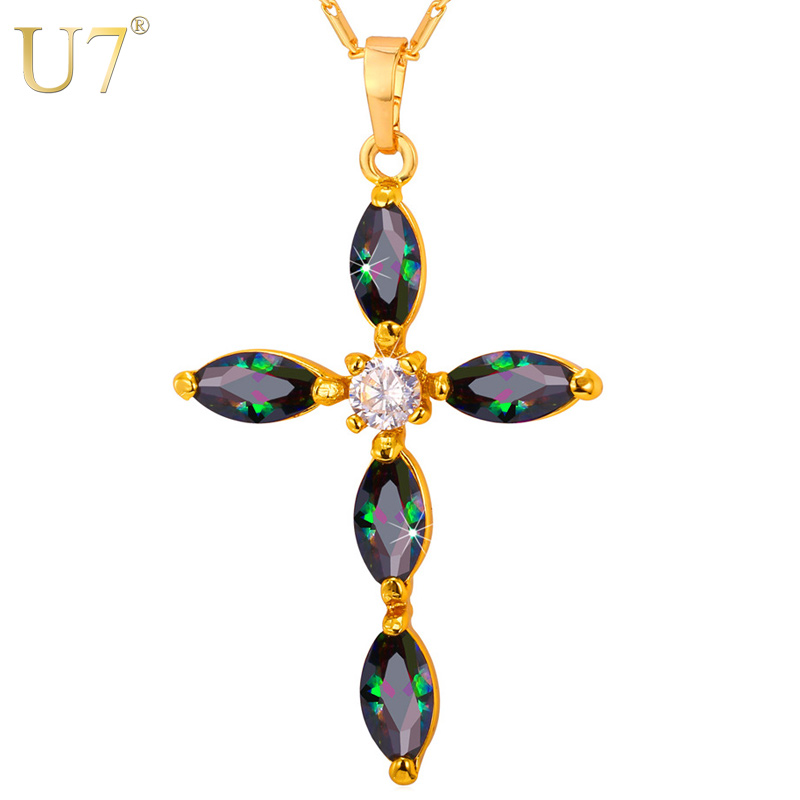 U7 Gold Crystal Cross Necklace Women/Men Jewelry Wholesale Party Gift Zirconia Pendant Necklace Charms Christian Jewelry P772(China (Mainland))