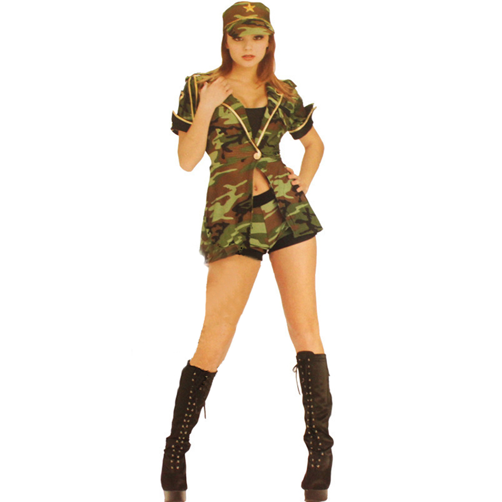 classic hot selling women sexy halloween costumes combat cutie costumes free shipping army fancy dress fancy - Halloween Army Costumes