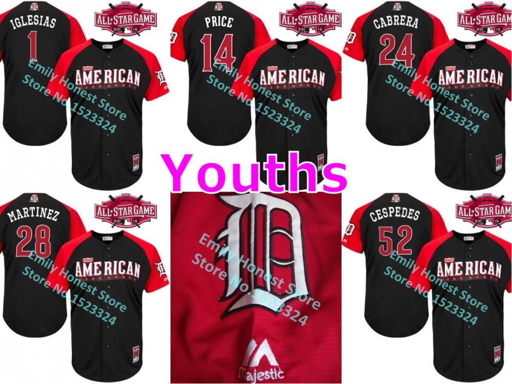 Youths 2015 Detroit Tigers All Star Jersey 1 Jose Iglesias 14 David Price 24 Miguel Cabrera 28 J.D. Martinez 52 Yoenis Cespedes(China (Mainland))