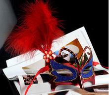 Prestazione della fase Maschera di Piume D'oro Della Farfalla Principessa Mezza Viso di Halloween Maschera per Gli Occhi(China)