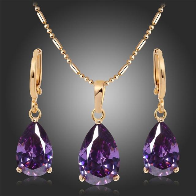 18 К желтый позолоченные груша Cut фиолетовый аметист слеза серьги ожерелье для мода ...