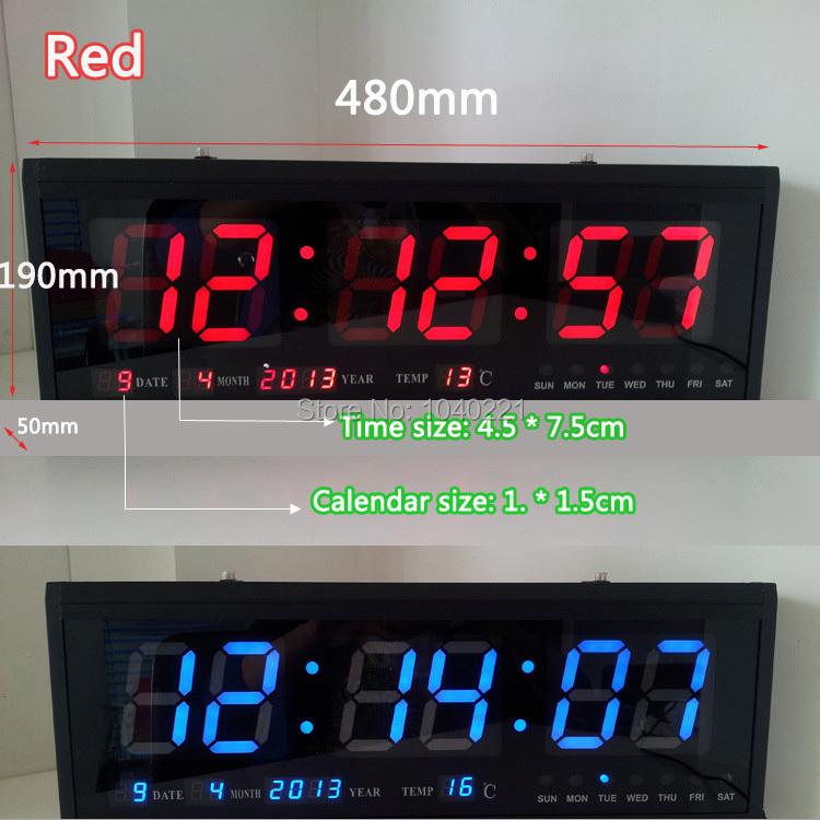 Free Shipping via DHL , Aluminum Large Digital LED Wall Clock Big Watch Modern Design Home Decor Decoration BLUE / RED / GREEN(China (Mainland))