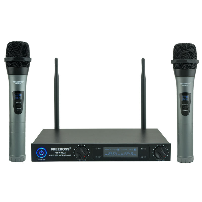 Freeboss FB-VM02 Professional Microphones Dual Channel Handhelds Metal Shell Mic Karaoke System Family Party Wireless Microphone(China (Mainland))