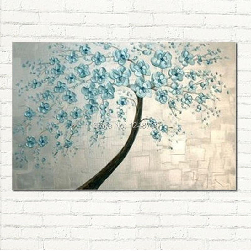 Buy Modern abastract blue flower painting Home Wall Decor Abstract Canvas handpainted palette knife wall art cheap