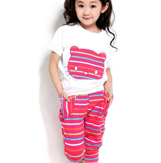 2015 Summer Baby Girl Clothes Cotton Kids Clothes Sets Children's Clothing Cartton Kitty T-shirt+ Pants Sports Suit For Girls(China (Mainland))