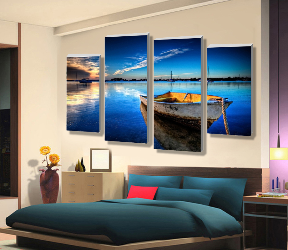 wholesale price modern scenery beautiful high definition printing 4 panel oil painting on canvas for new year no frame(China (Mainland))