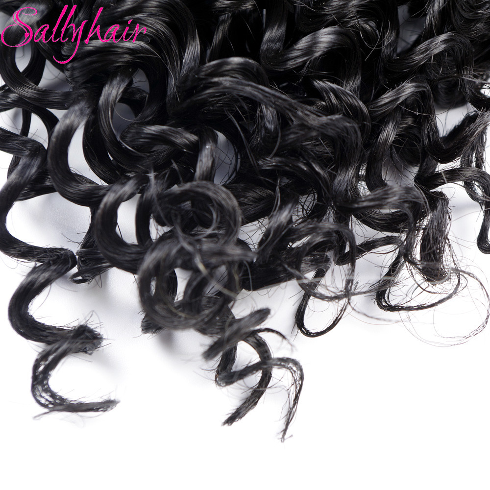 Sallyhair Ombre Color Afro Kinky Curly Crochet Hair Weave Mixed Black Burgundy Synthetic Hair Extensions 3pclot Hair Weavings  (43)