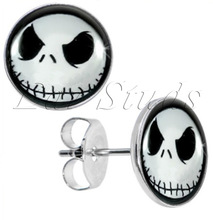 Stainless Steel  Nightmare Before Christmas Stud Earrings Fake Plugs Diameter 10mm*1.2mm 50pcs/lot ZCST-052(China (Mainland))