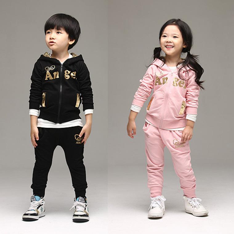 Girl jacket+pants cartoon sets Fashion boy clothes set children sports suit kids angel wings clothing set 2 pcs 2 colors(China (Mainland))