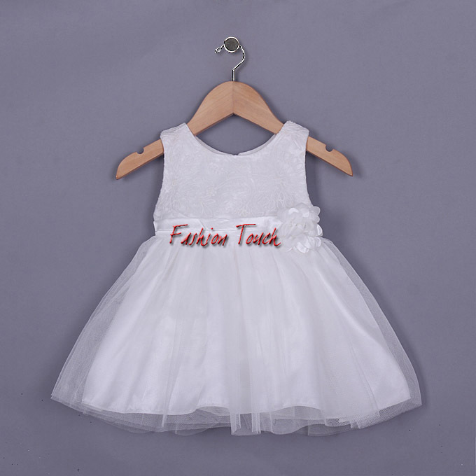 2016 Girl Dress White Lace Kids Clothes Flower Infant Princess Party Wear Sleeveless Baby Summer GD50328-24^^FT - Fashion Touch store