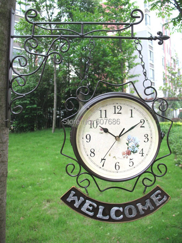 Cast Iron WELCOME Double Dial Clock Wall Mounted, Wall Decor, Home decor Clock, Free shipping, welcome Clock Free shipping
