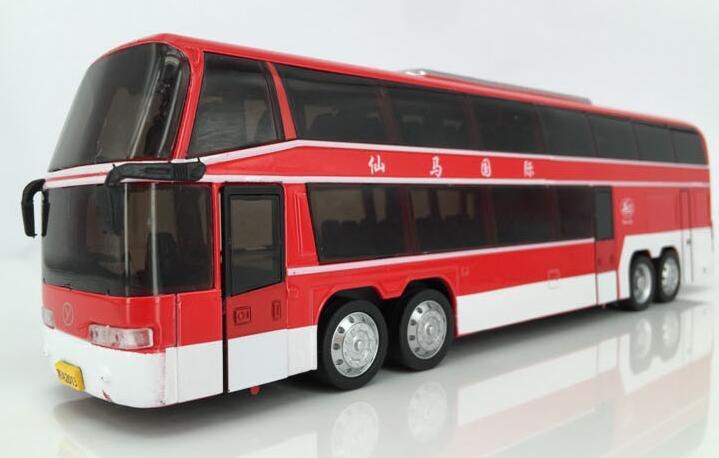 Tourist Bus Sound Light And Sound Passenger Train Alloy Lifelike Sound And Light Double-Decker Bus Kids Toys(China (Mainland))