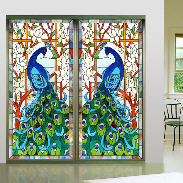 decorative window glass. New Design Europen Style Peacock Glass Window Film Home Decorative  Sticker Stained 50 100cm