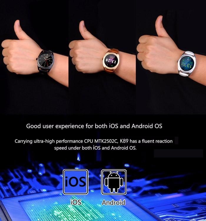 ถูก Cacgo k89แฟชั่นบลูทูธ4.0 smart watch h eart rate monitorนอนติดตามpedometerลำโพงสำหรับios a ndroidมาร์ทโฟน