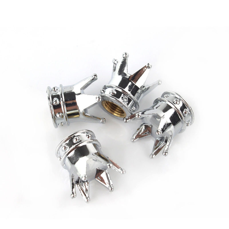 Useful Silver Crown Tyre Tire Valve Stems Air Dust Caps Cover Car Truck Wheel Rim(China (Mainland))