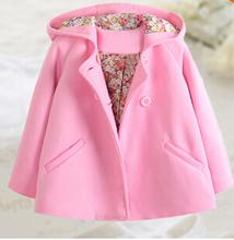Дети весна верхняя одежда шерстяная ткань пальто шерстяная ткань плащ двубортная длинная — рукав девочки шерсть пальто