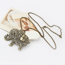 Women Vintage Bronze Hollow European Cute Lovely Elephant Long Chain Dress Pendent Necklace Jewelry Gift(China (Mainland))
