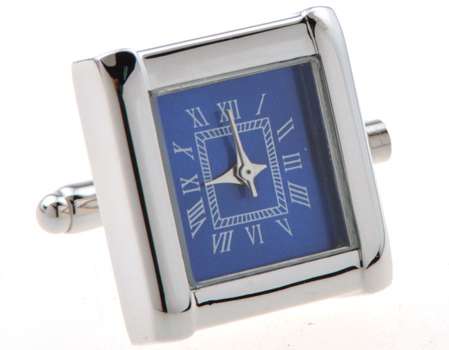 Functional Cufflinks - Square blue watch cuff links movement stripes cufflinks gift for men -KLJC2852(China (Mainland))