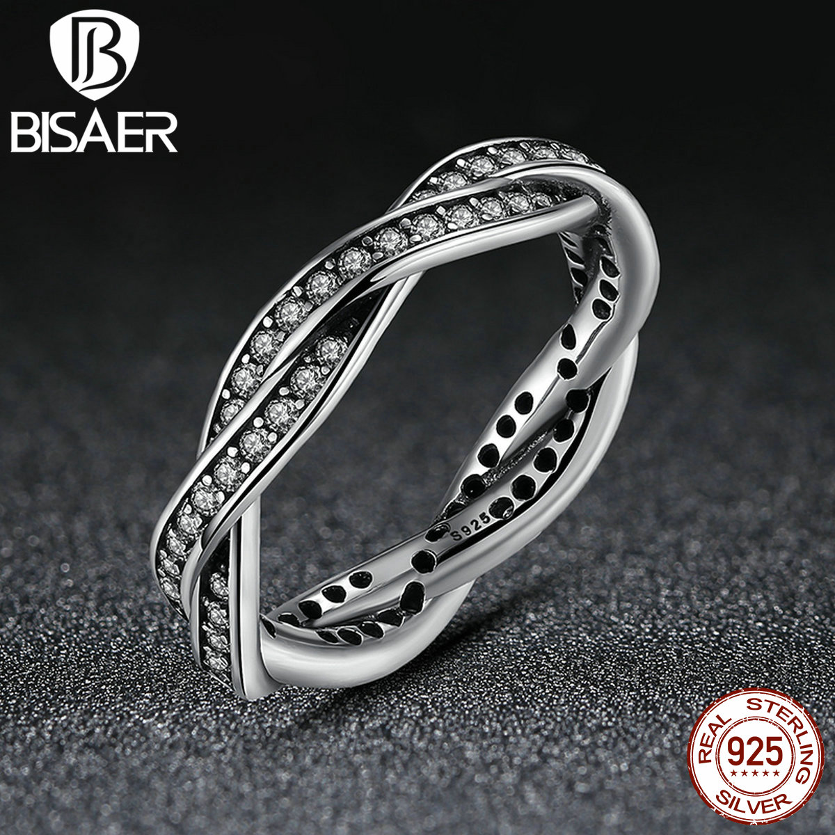 100% 925 Sterling Silver BRAIDED PAVE SILVER RING with Clear CZ Authentic Twist Of Fate Compatible with Pan Jewelry(China (Mainland))