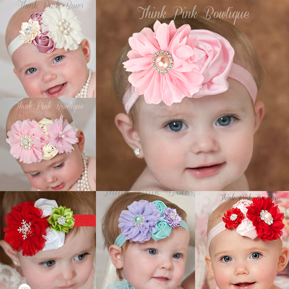 Retail 2015 newest design baby girl flower headband hairband rhinestone kids head band children hair accressories(China (Mainland))