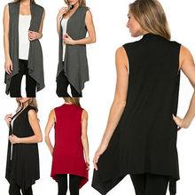 Fashion Women Casual Sleeveless Cardigan Knit Sweater Coat Jacket Outwear Tops