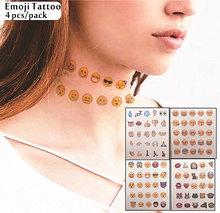 4 pcs/ Set Emoji Tattoos as body decoration or choker like neck decor ,Non-toxic And Waterproof Small Colored Temporary Tattoo(China (Mainland))