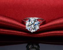 Классический 6 Зубца T Марка 6Ct Муассанит 750 Белое Золото Синтетических Алмазов Положительное Кольцо Обручальное Для Женщин Реального 750 Золото ювелирные изделия(China (Mainland))