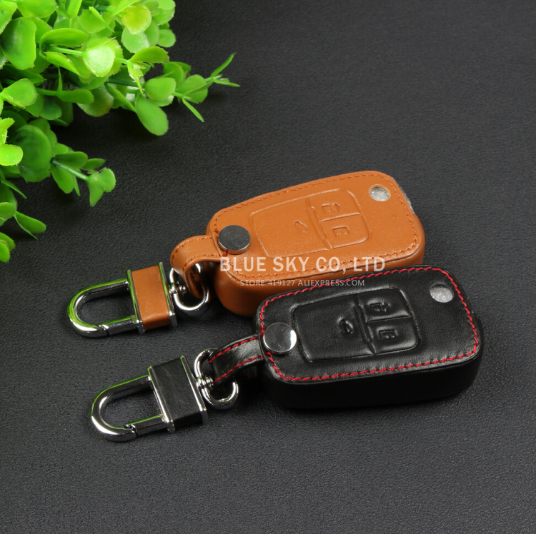 Genuine leather Remote Control Car Keychain key cover bag case auto accessories For Chevrolet Chevy Cruze Opel Mokka(China (Mainland))