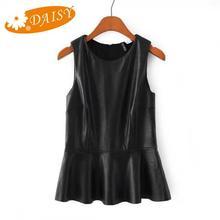 2015 Summer Style New Fashion Pu Leather Tank Top Sleeveless Ruffles Hem Back Zipper Women Tank Solid Slim Thin All-Match Tops(China (Mainland))