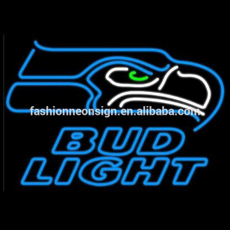 Fashion Neon Sign Bud Light Seattle Eagle Handcrafted Real Glass Lamp Neon Light Neon Sign Beerbar Sign 19x15.Free Shipping!(China (Mainland))