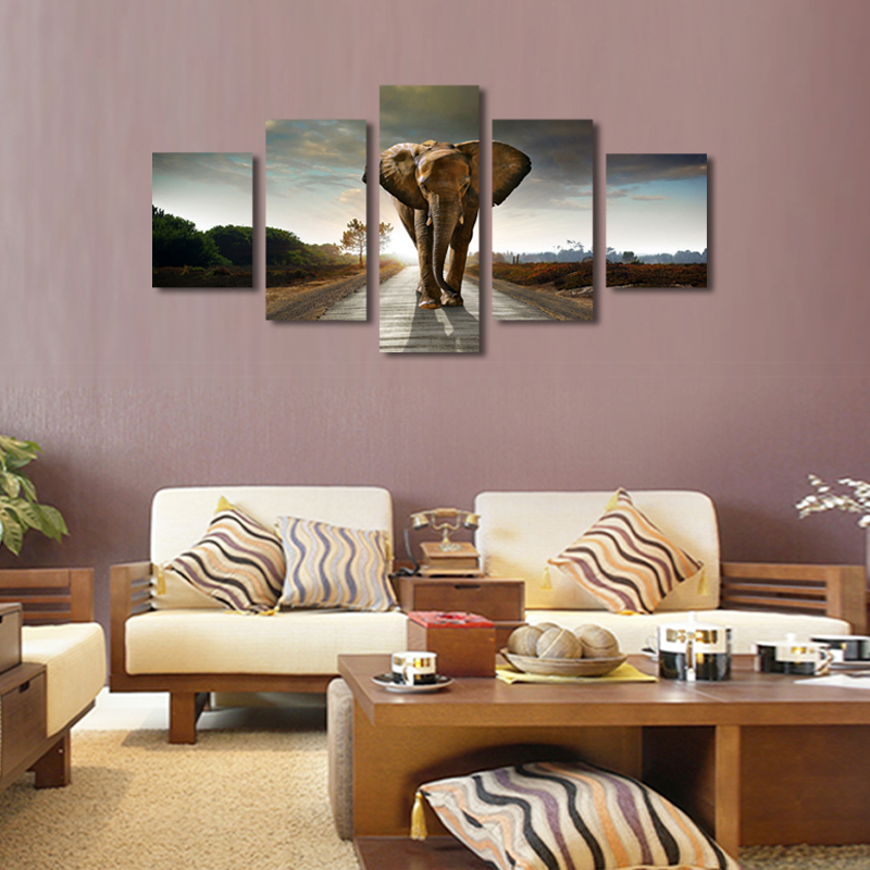 5 Pcs(No Frame) Elephant Painting Canvas Wall Art Picture Home Decoration Living Room Canvas Print Modern Painting-Large Canvas(China (Mainland))